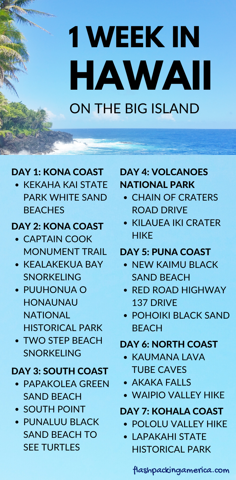 Things to do in Hawaii for first trip to the Big Island list - 1 week US vacation ideas