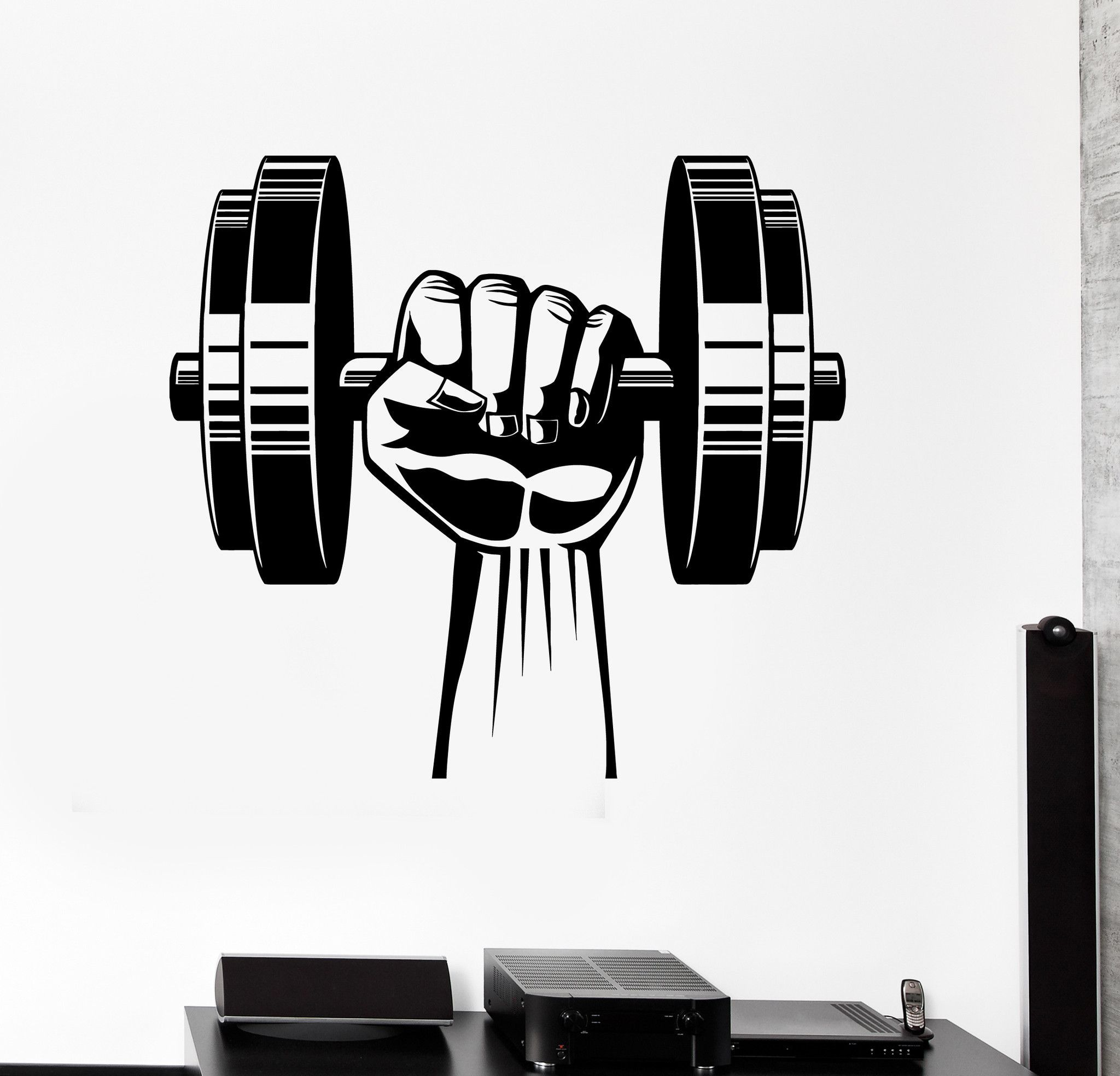 Vinyl Wall Decal Hand Dumbbell Bodybuilding Fitness Sport