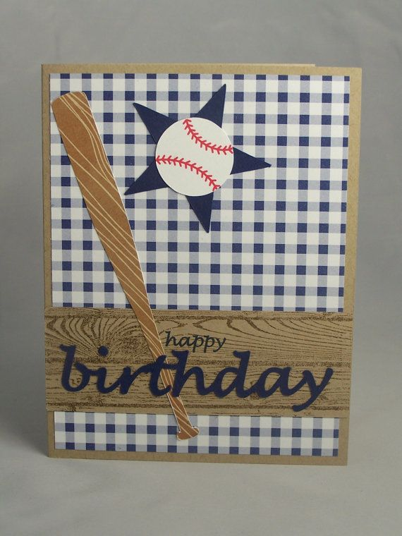 Handmade Greeting Card Baseball Birthday Son Grandson Boy Softball Sports Invitation Thank You Coach Personalized Custom