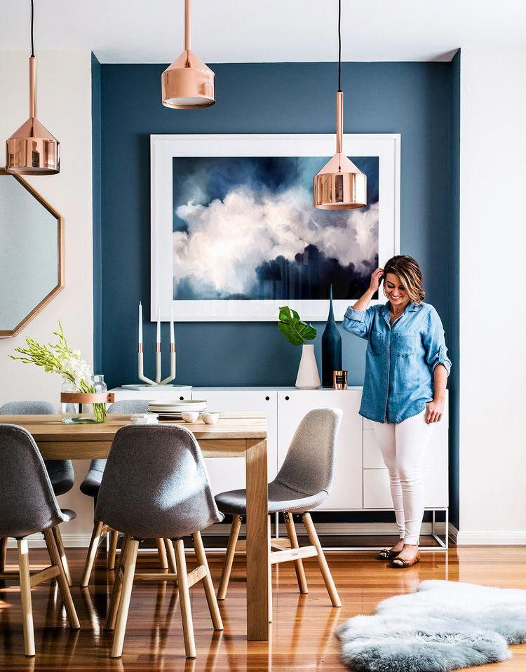 Dining Room With Indigo Blue Accent Wall And Copper Pendant Lights Modern But Warm Home To A B Modern Houses Interior Australian Home Decor Dining Room Walls