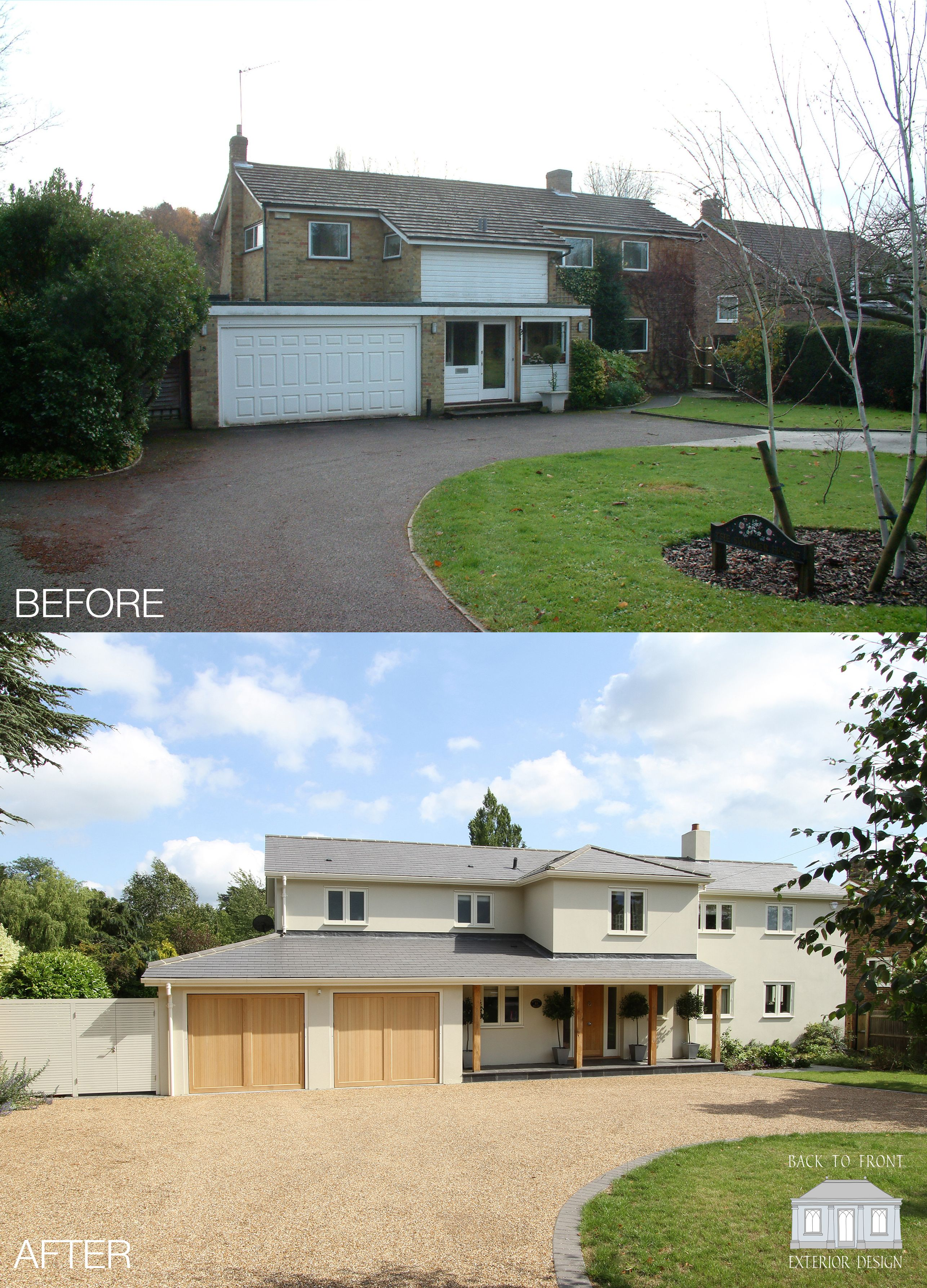 Famous Exterior Transformation 1960's House in Surrey by Back to Front  ZF33