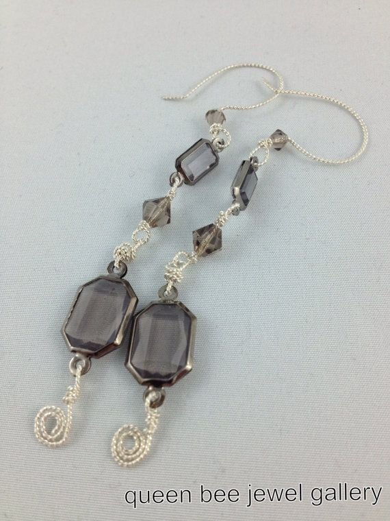 crystal dangle earrings with twisted wire by queenbeejewelgallery, $13.00
