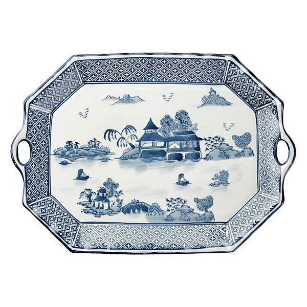 "White Decorative Tray Best 19"" Handled Willow Platter Bluewhite Decorative Trays €40 Review"