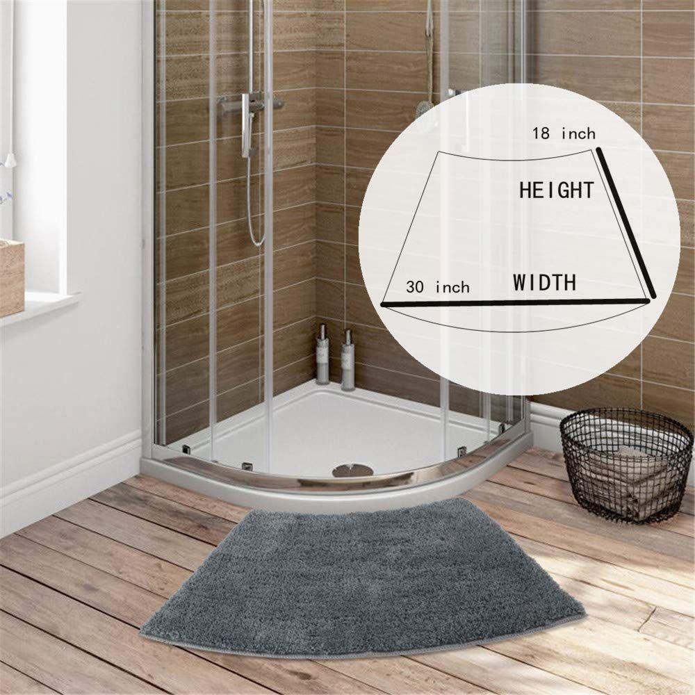 Seavish Luxury Grey Shag Curved Bath Rug 18 X 30 Inch Non Slip