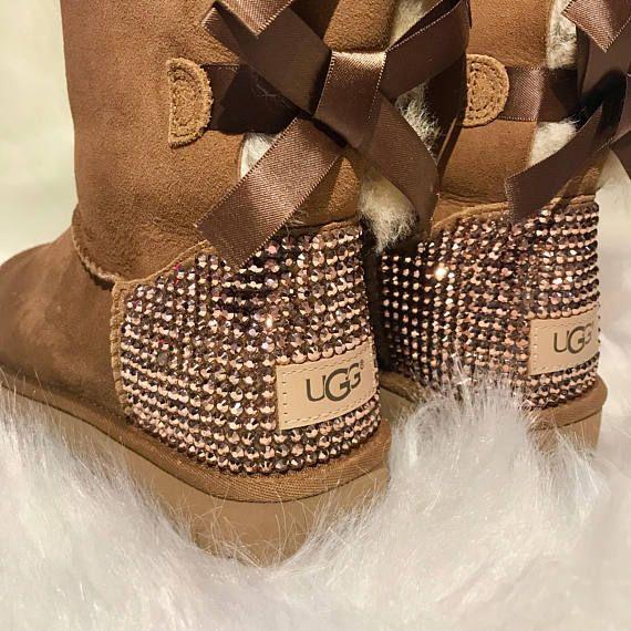 Bling uggs- bling bailey bow uggs- custom ugg boots - sparkly ugg boots -bling  uggs- woman bling ugg 6b7340f2b