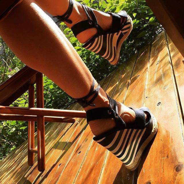 Waiting for the sun to come in the early morning with my blue striped #wedge heel #sandals  #vanessawu #yourlifeyourshoes #costarica #elsilenciolodge #ss2016