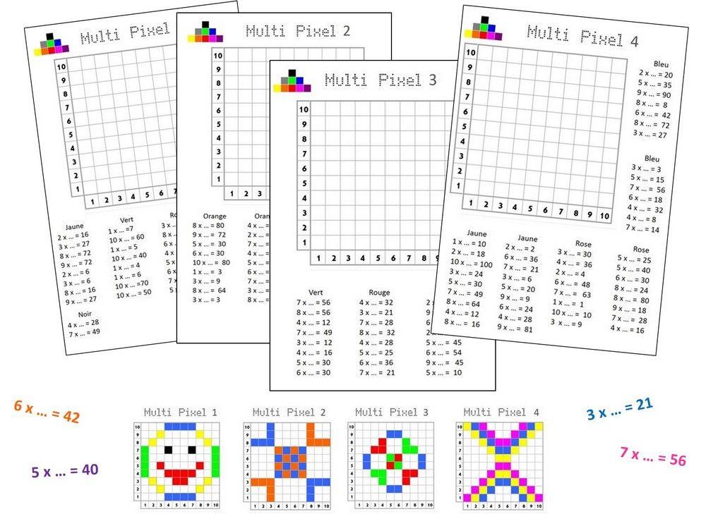Multi pixels 1 jeu multiplication jeux math matiques - Exercice cm1 table de multiplication ...