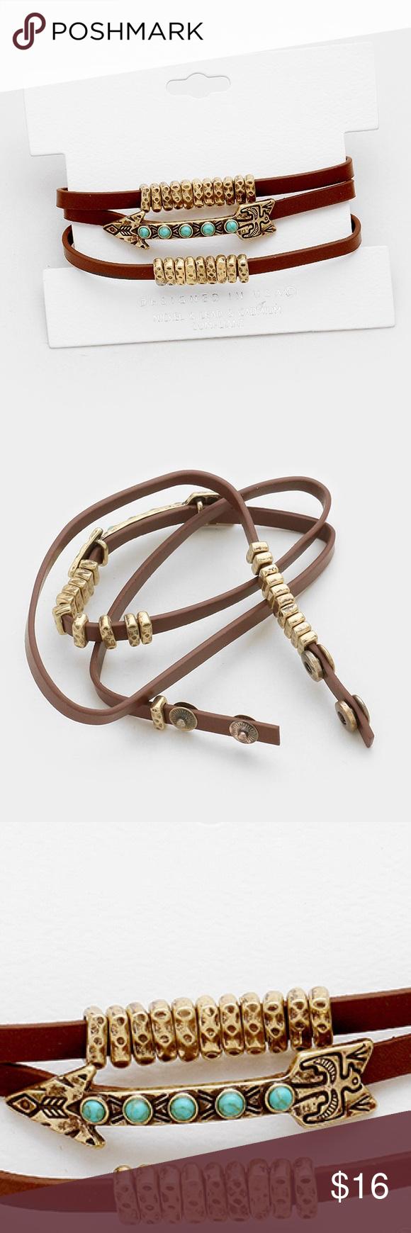 Leather arrow wrap bracelet pinterest arrow jewelry bracelets
