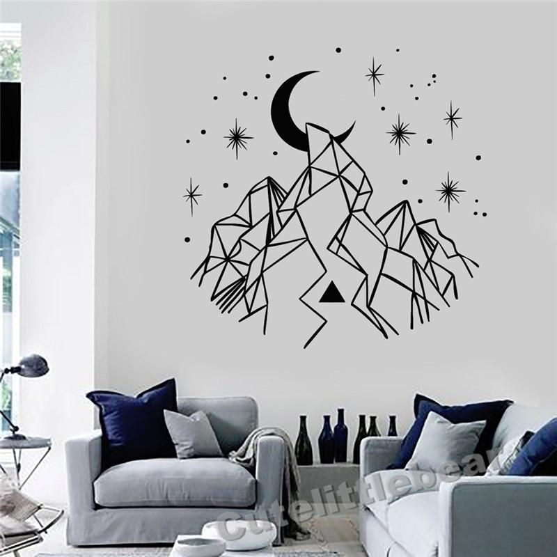 Crescent Moon With Mountain And Star Decal Modern Market Online