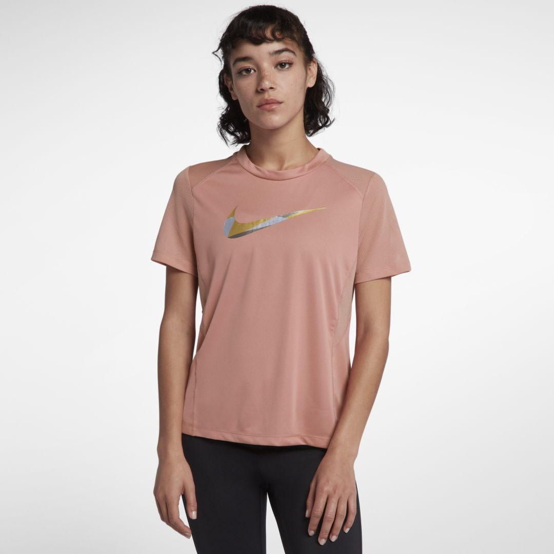 half off 11fa5 8de58 Nike Miler Women s Short-Sleeve Metallic Running Top Size XL (Rust Pink)