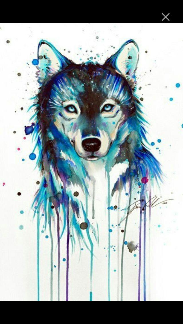 Acryl Painting Wolf Blue Painting Dessin De Loup Modele De