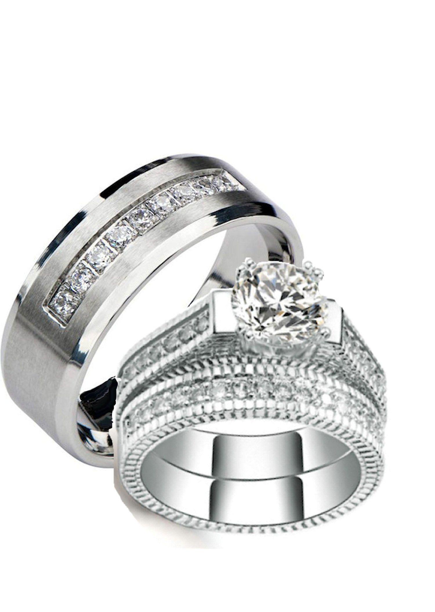 His Hers Wedding Ring Sets Cz Matching Wedding Ring Set Wedding Rings Sets His And Hers Cz Wedding Ring Sets Wedding Ring Sets