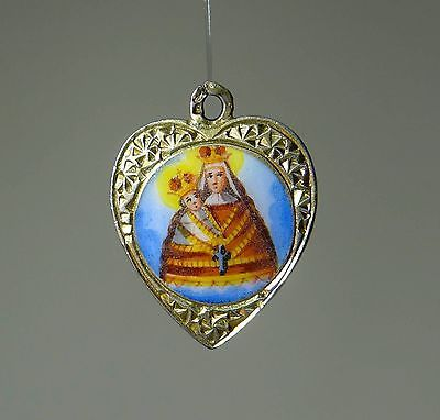 VIRGIN MOTHER ART NOUVEAU AUSTRIAN CHARM ENAMEL JUGENDSTIL ANHÄNGER Bettela A481