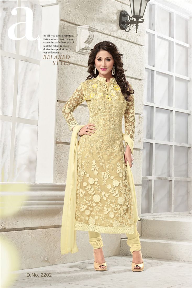 46dff0ff4c Stylish Hina Khan Georgette And Net Salwar Kameez | Hina Khan Salwar ...