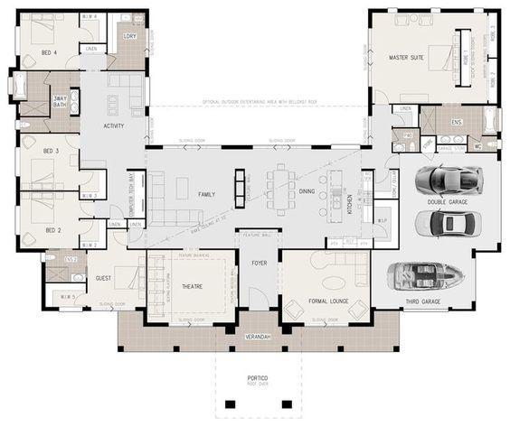 u shaped lakefront house plans - Google Search | Comment apprendre l ...