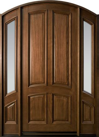Cherry Solid Wood Front Entry Door Single With 2 Sidelites For