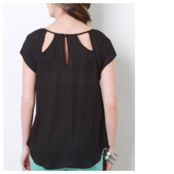 Semi-Sheer Chiffon Black Top + Cut-Out Back Incredibly delicate and chic, while remaining decidedly dramatic. Sold out online. Tops