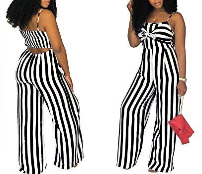 ea867e5a5d7 Amazon.com  SheKiss Women s Sexy Spaghetti Strap Striped Tie Bowknot Long  Pants Palazzo Jumpsuits Rompers Ladies Outfits Black  Clothing