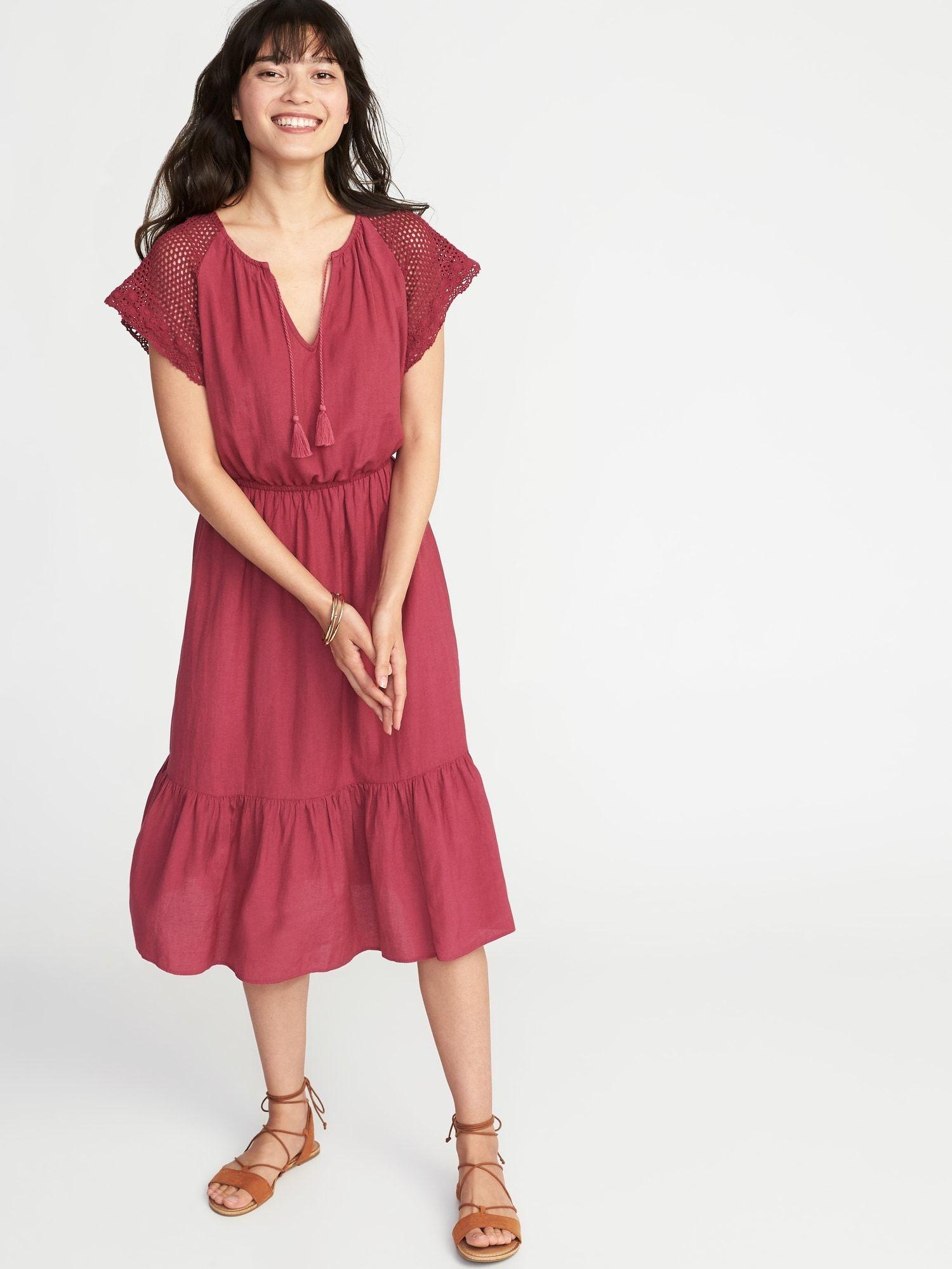 8b09b5b48cd Crochet-Sleeve Waist-Defined Midi Dress for Women