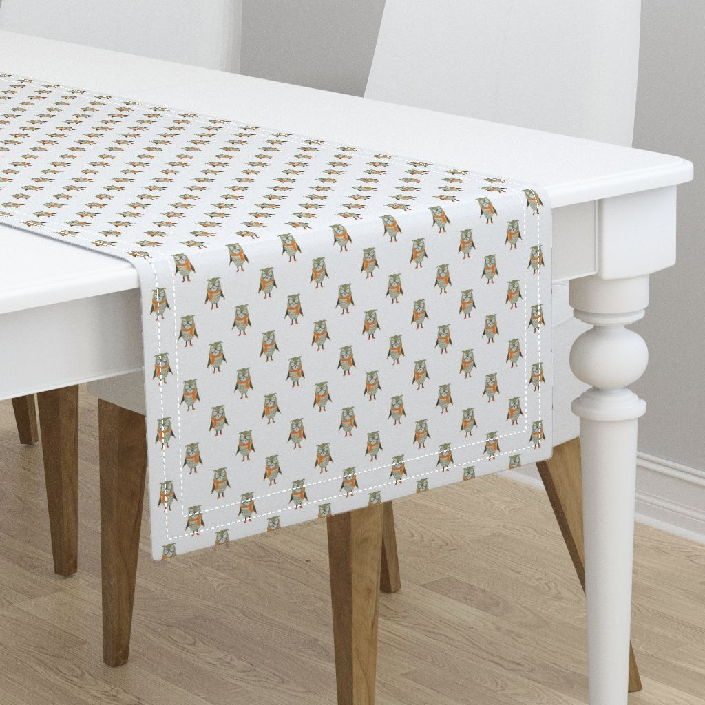 Owl Forest Friends All Over Repeat Pattern in White Table Runner ...