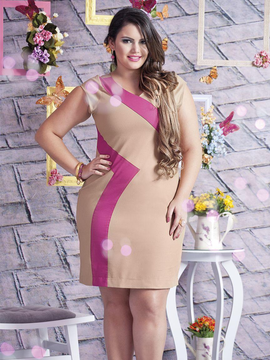Forma Rara - Vestido Duas Cores 12096 - Caqui/Pink - 44 | Cleo Lima ...