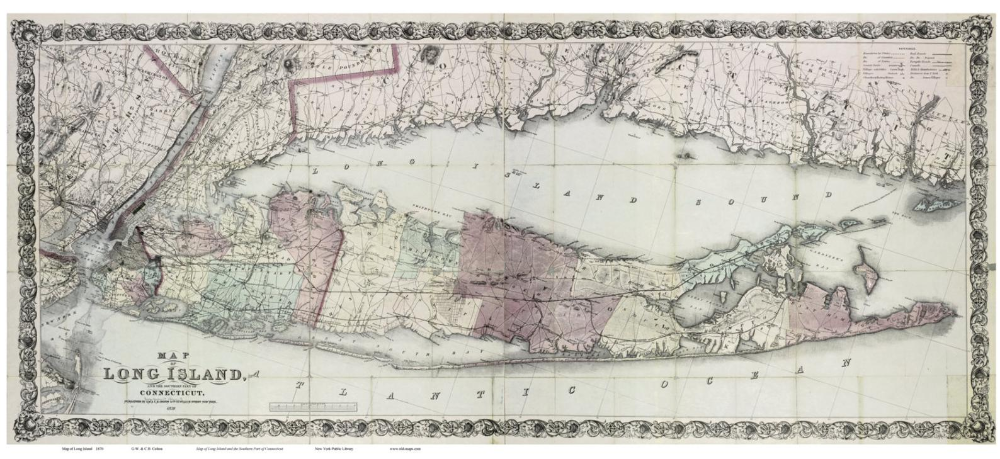 Best Long Island And Southern Connecticut 1870 Map By Colton 640 x 480