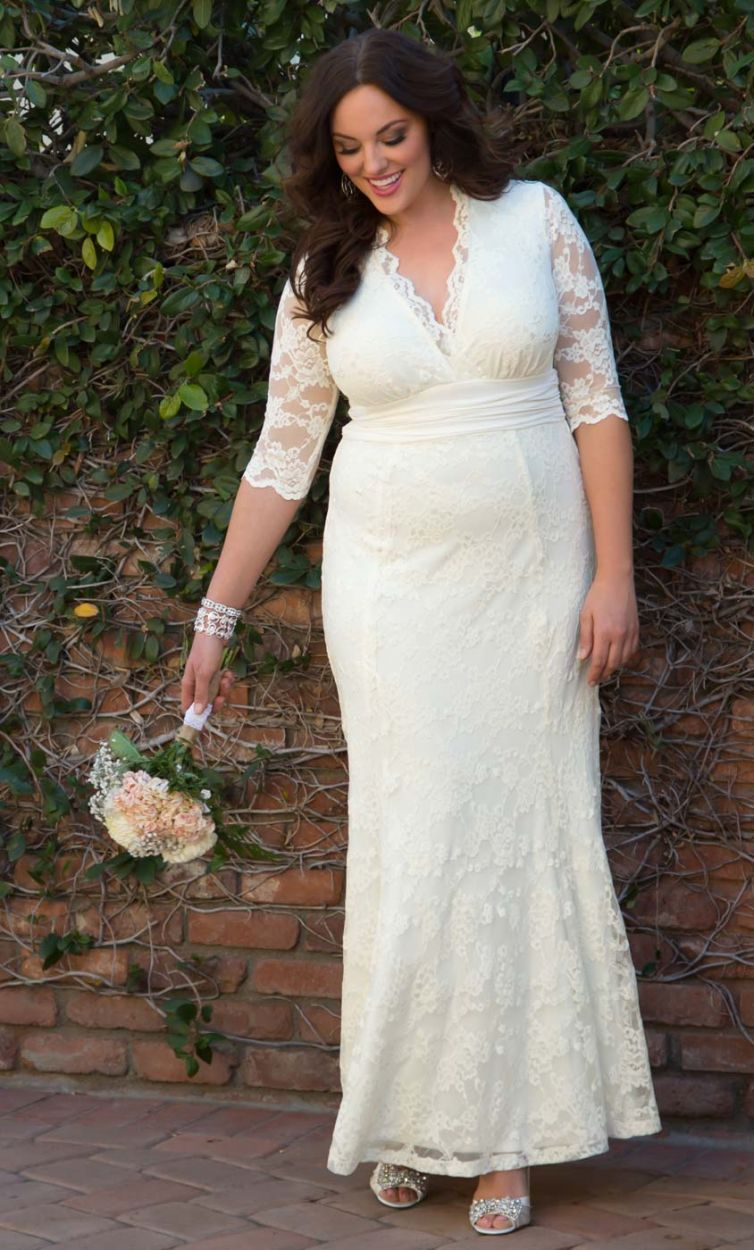 White lace wedding dress with sleeves  PLus Size Wedding Gown PLus Size Amour Lace Wedding Gown Sizes XX
