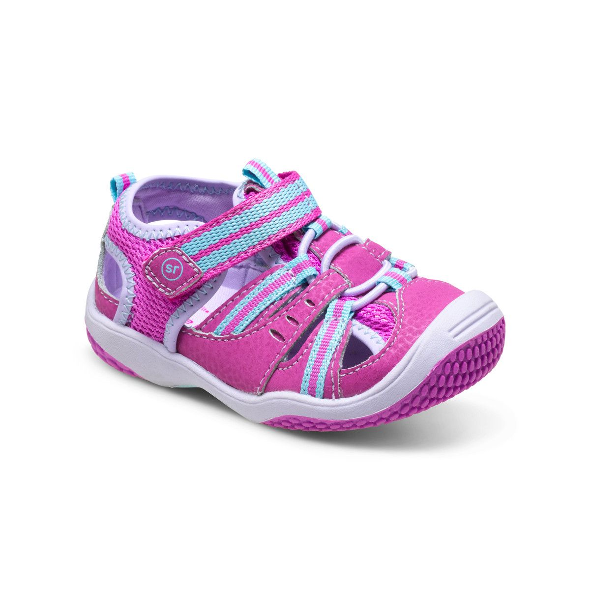 Stride Rite Baby Petra Water Sandal in Magenta/Turquoise. #stirderite #babypetra #watersandal #sandal #babygirlshoes #baby #girls #pink