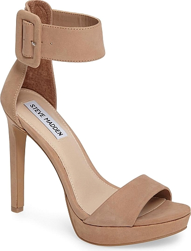 f5c7f7902561f Steve Madden Women's Shoes in Tan Nubuck Leather Color. A wide ankle cuff  adds bold, sophisticated style to a sky-high sandal balanced by a  just-right ...