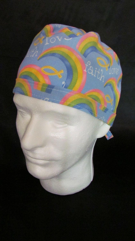 IXÈYÓ Faith Love Trust and Hope Rainbow Tie Back Surgical Scrub Hat by TipTopLids on Etsy