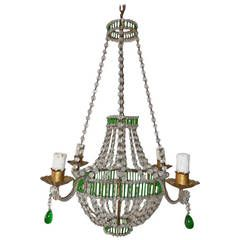 Petite French Crystal, Beaded Glass Tubes Green Chandelier