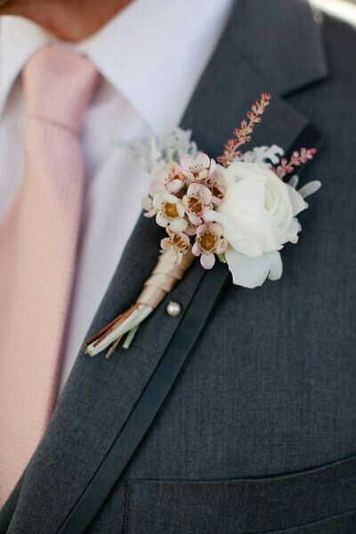 Boutonniere Of Pink Wax Flower White Ranunculus Dusty Miller Dusty Rose Wedding Pink Wedding Rose Gold Wedding