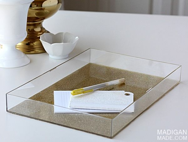 DIY acrylic tray with gold glitter bottom (made from an old box ...
