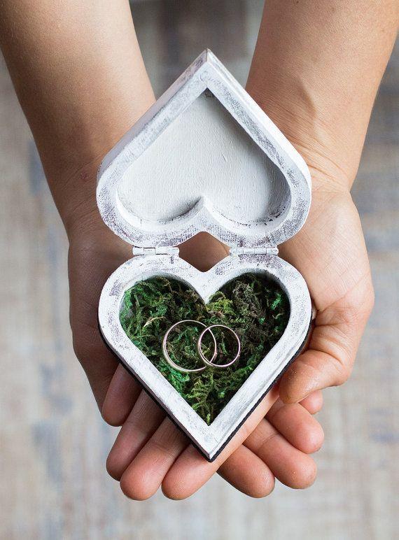 Wedding Ring Box Ring Bearer Box Custom Wedding Box Moss Rustic Ring