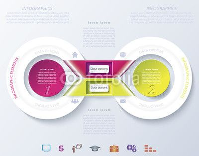 Vector: Abstract infographic design with color circles and ribbons.