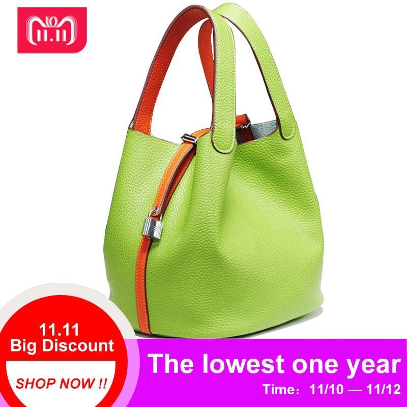 995e6d27e5ea 2018 Luxury genuine leather guaranteed cowhide women handbag Famous brand  lady lock bags female handbag bucket shopping bags Review