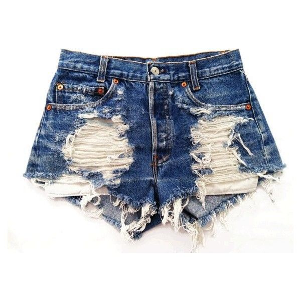 4e650bb7ce Studded Cut Off Ripped High Waist Denim Shorts ❤ liked on Polyvore  featuring shorts