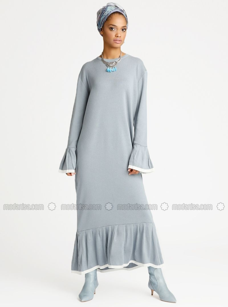 Triko Elbise Buz Mavisi Benin Baju Muslim Muslim Inspirasi
