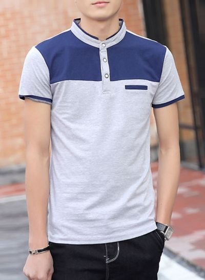 Color Block Collared Button Front Knit Tee - AZBRO.com
