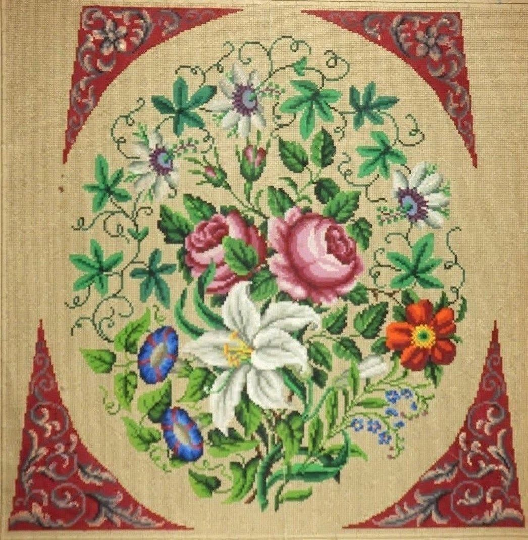 A Berlin WoolWork Floral Bouquet Pattern With Ornate Corners