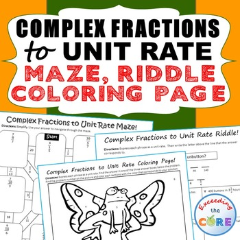 COMPLEX FRACTIONS to UNIT RATE Maze, Riddle, Coloring Page ...