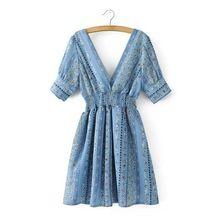 2017 verão novo estilo europeu moda feminina frente e costas com decote em v manga curta flor impresso casual chiffon plissado dress(China (Mainland))