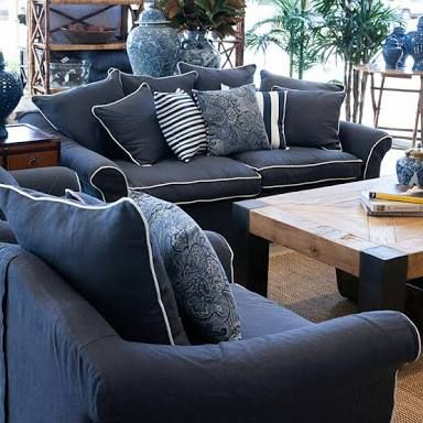 Image Result For Blue Sofa White Piping New House Blue White