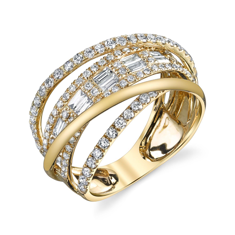 Diamond baguette orbit ring diamond white sapphire ring