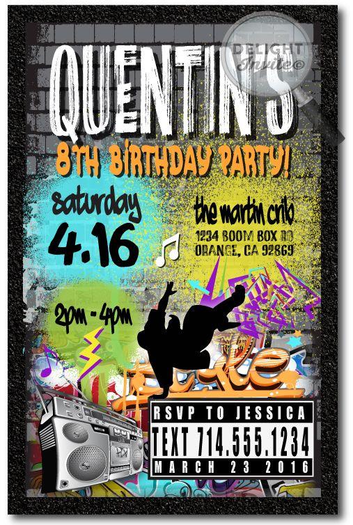 Graffiti 80s Old School Hip Hop Birthday Invitations Di