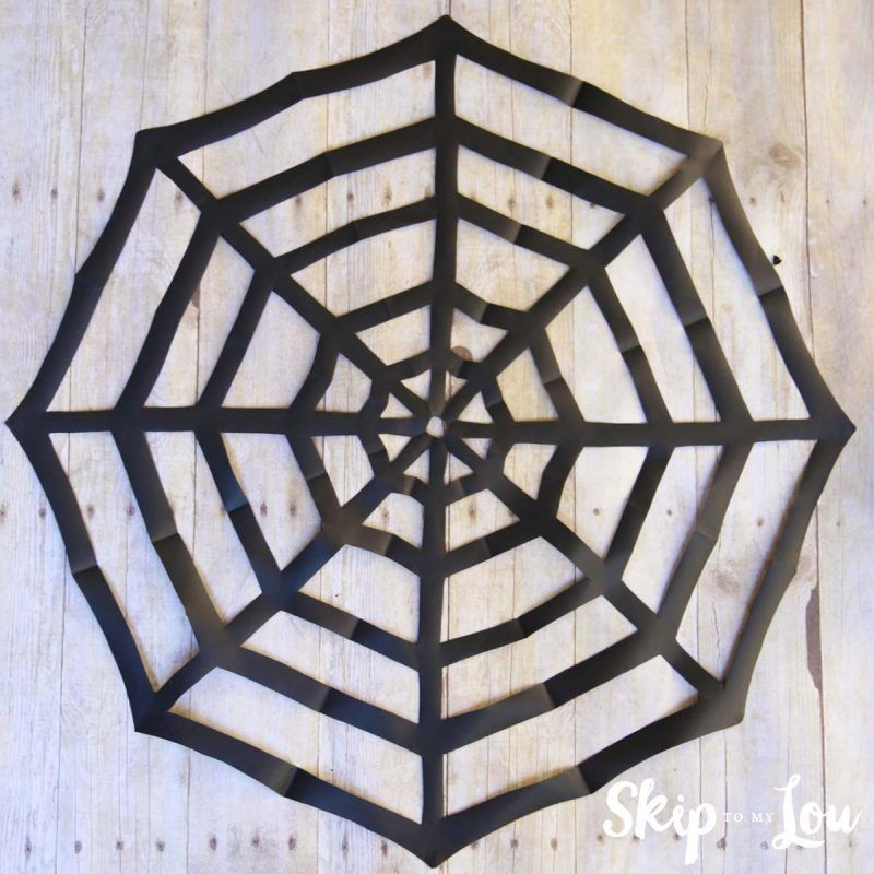 how-to-make-a-paper-spider-web Halloween Pinterest Spider webs - spider web halloween decoration