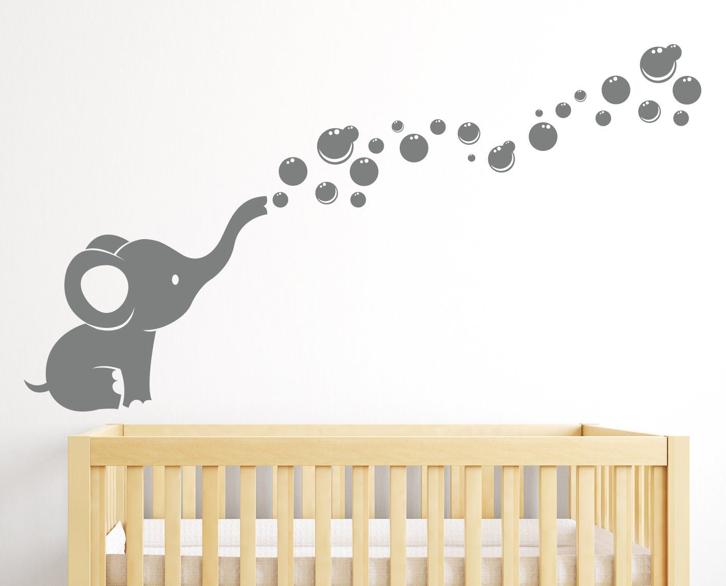 Wall Art For Nursery Ideas : Elephant bubbles wall decal nursery decor