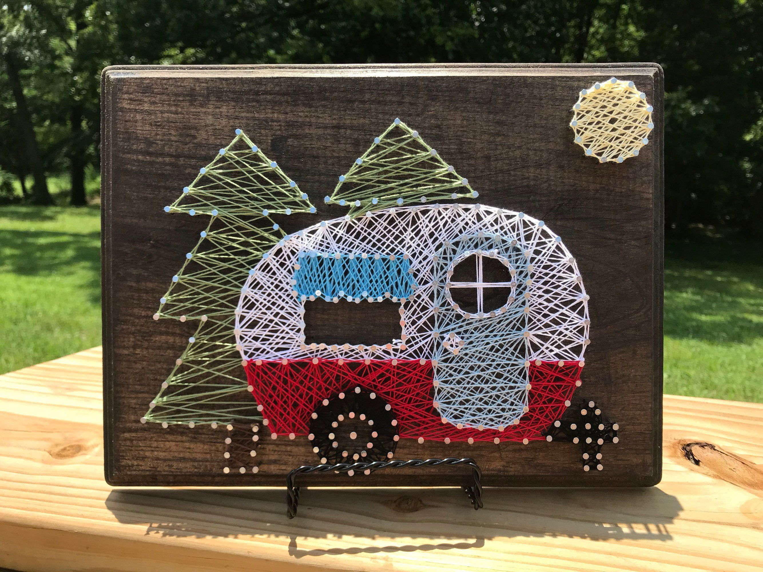 Vintage Red Retro Camper Sign, Retro Red RV Sign, RV Decor, Camper w/Trees Moon Wood Sign, String Art, Rv Decor, RV Sign, Retro Rv Sign #stringart