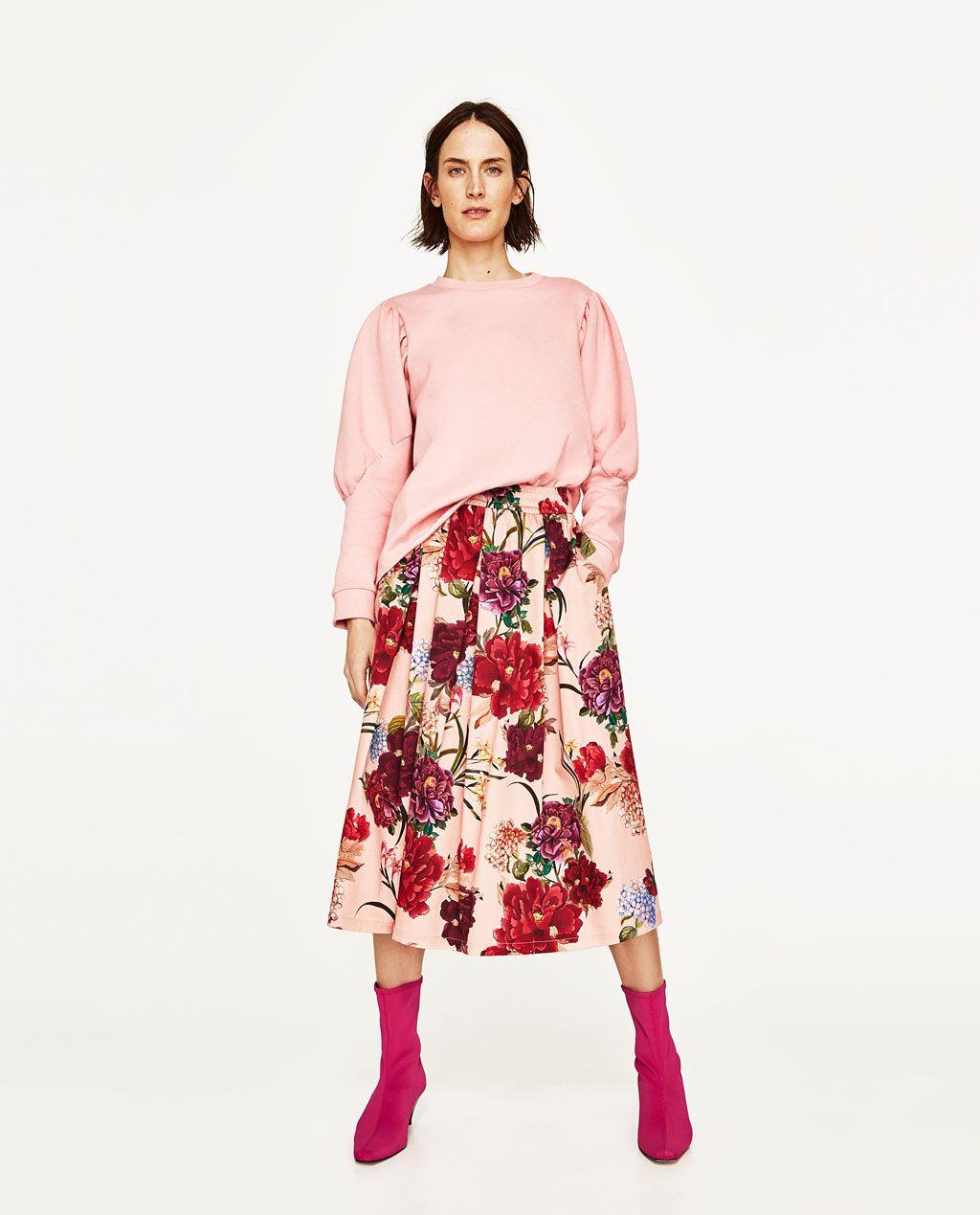 f4e93ec88c FALDA MIDI ESTAMPADO FLORES | Clothing Items - Skirts and Such ...