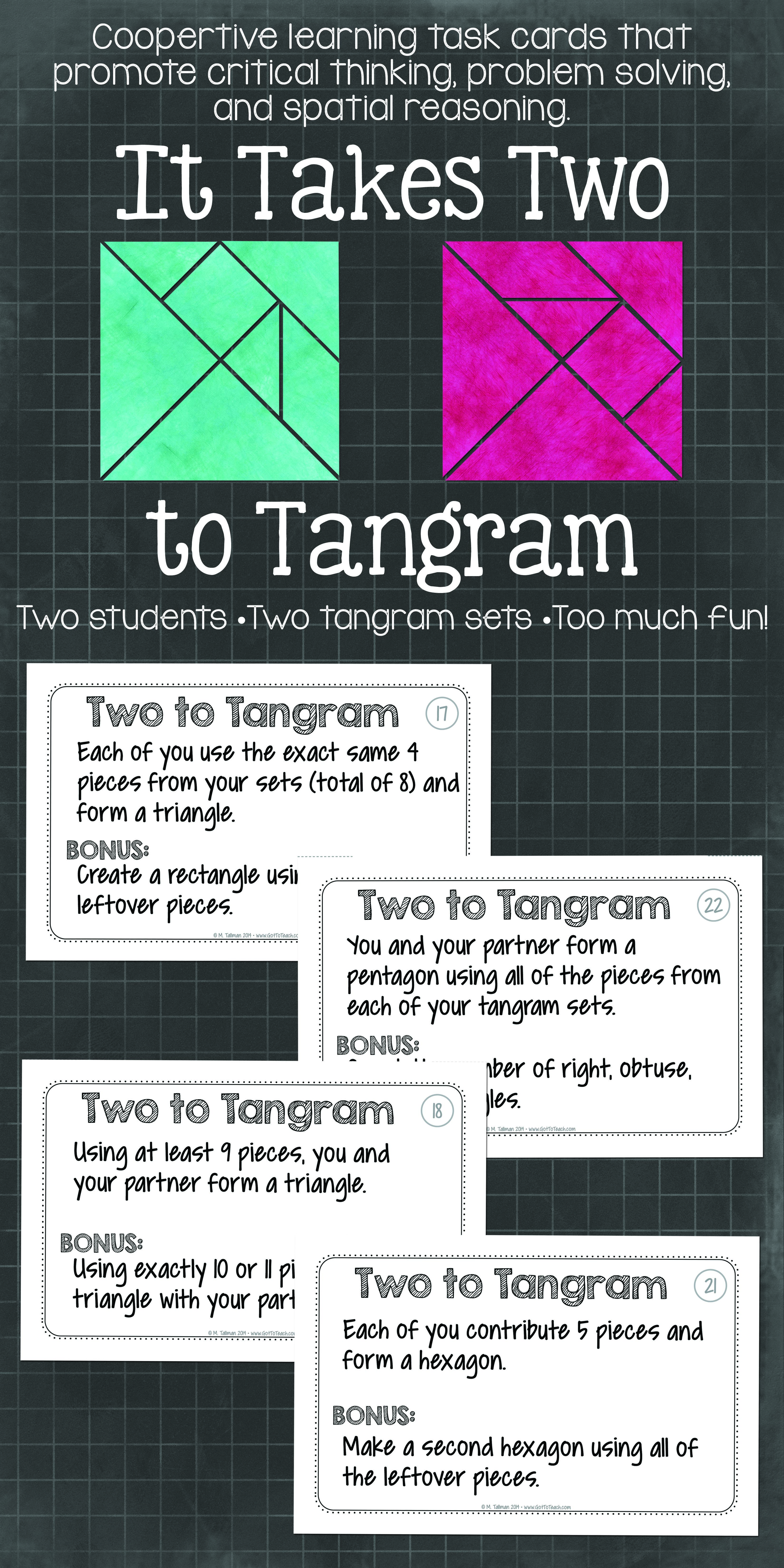 It Takes Two to Tangram\ Cooperative learning tangrams! Activities that get  will your students thinking and com…   Teaching math [ 6600 x 3300 Pixel ]